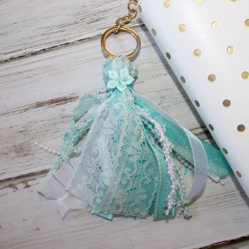 Ribbon Tassel // Aqua and White