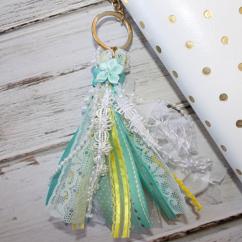 Ribbon Tassel // Aqua, White, and Yellow