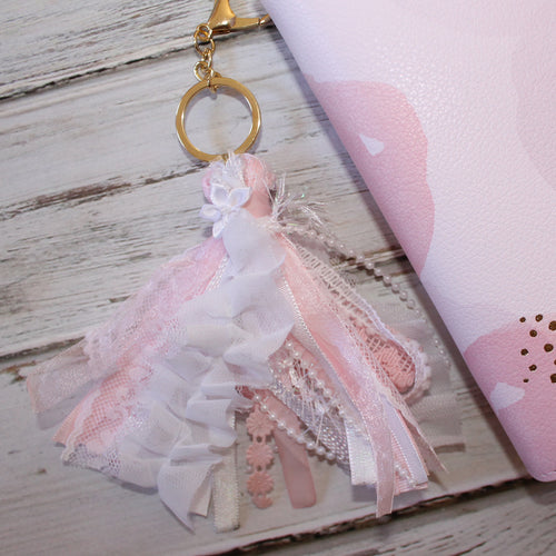 Ribbon Tassel // Pink and White