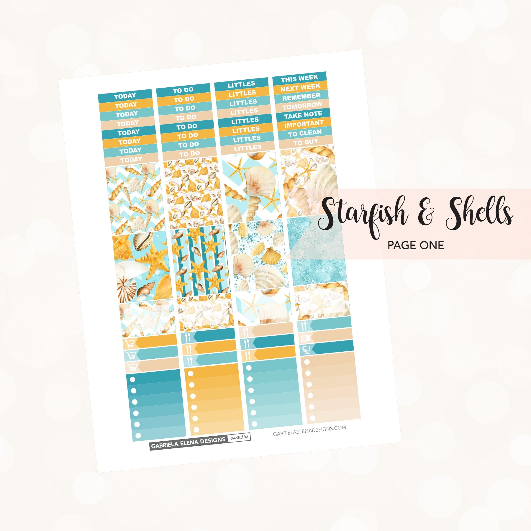VERTICAL Printable / Instant Download / Starfish and Shells