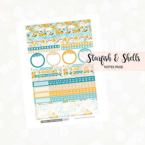 NOTES Printable / Instant Download / Starfish and Shells