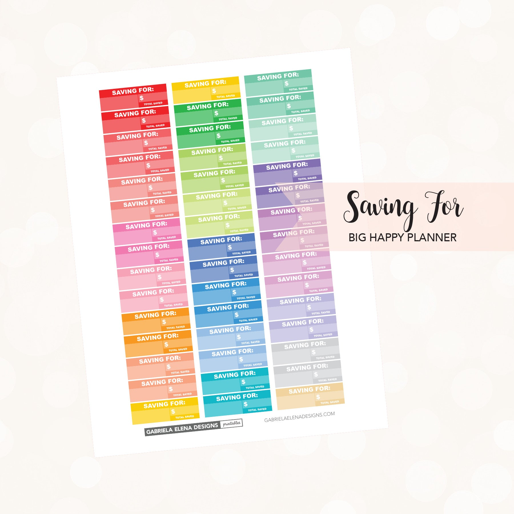 5b2a7c1ca1943 BIG HAPPY PLANNER // Printable / Instant Download / Saving For