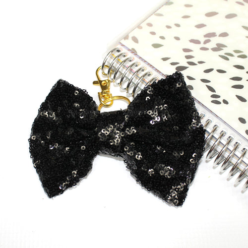 Sequin Large TN Bow // Black
