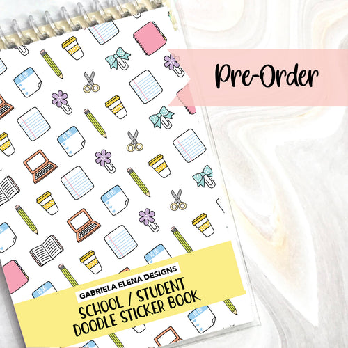 PRE-ORDER // School Student // Doodle Sticker Book // 12 pages