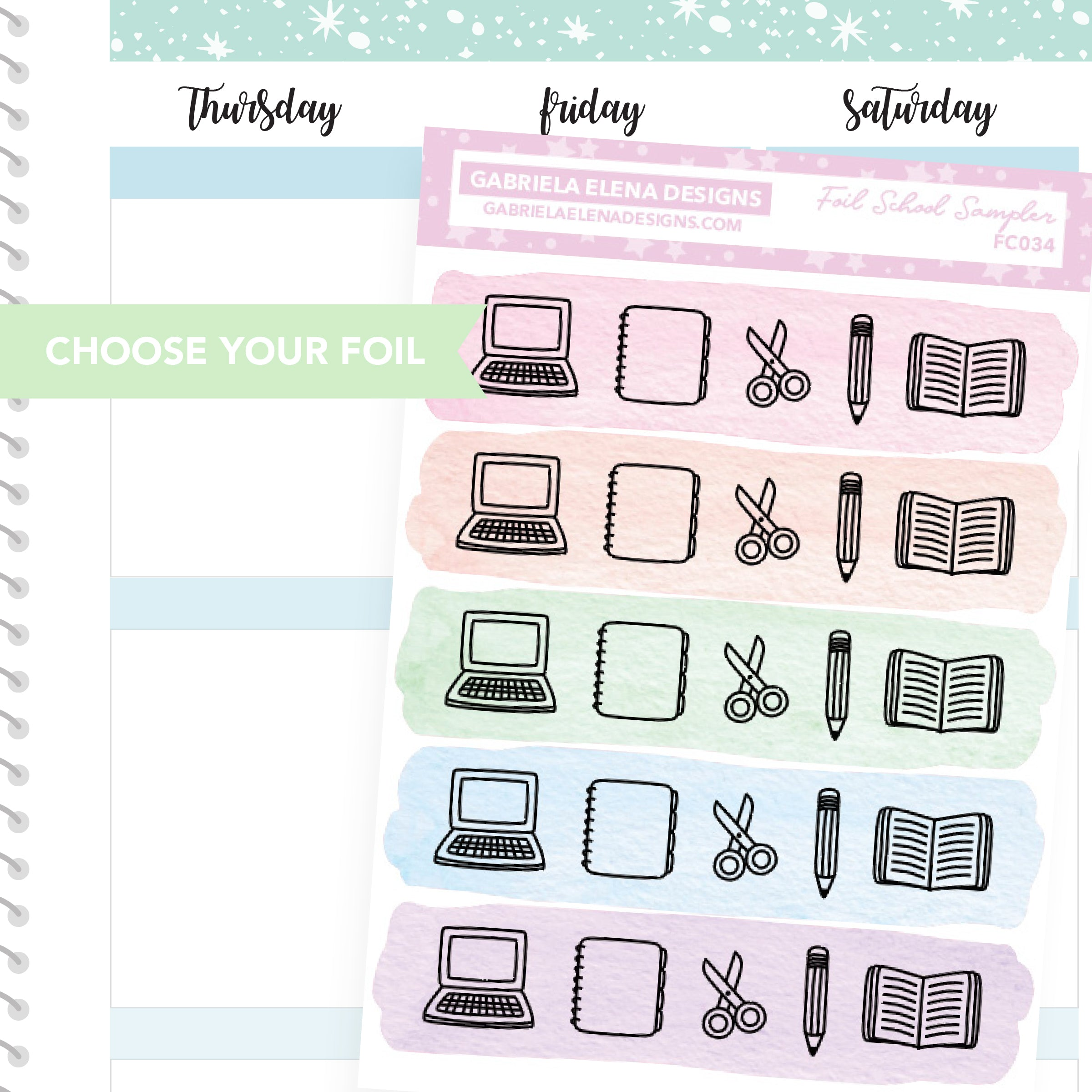 School Sampler / FOIL Stickers / Choose Your Foil / Pastels