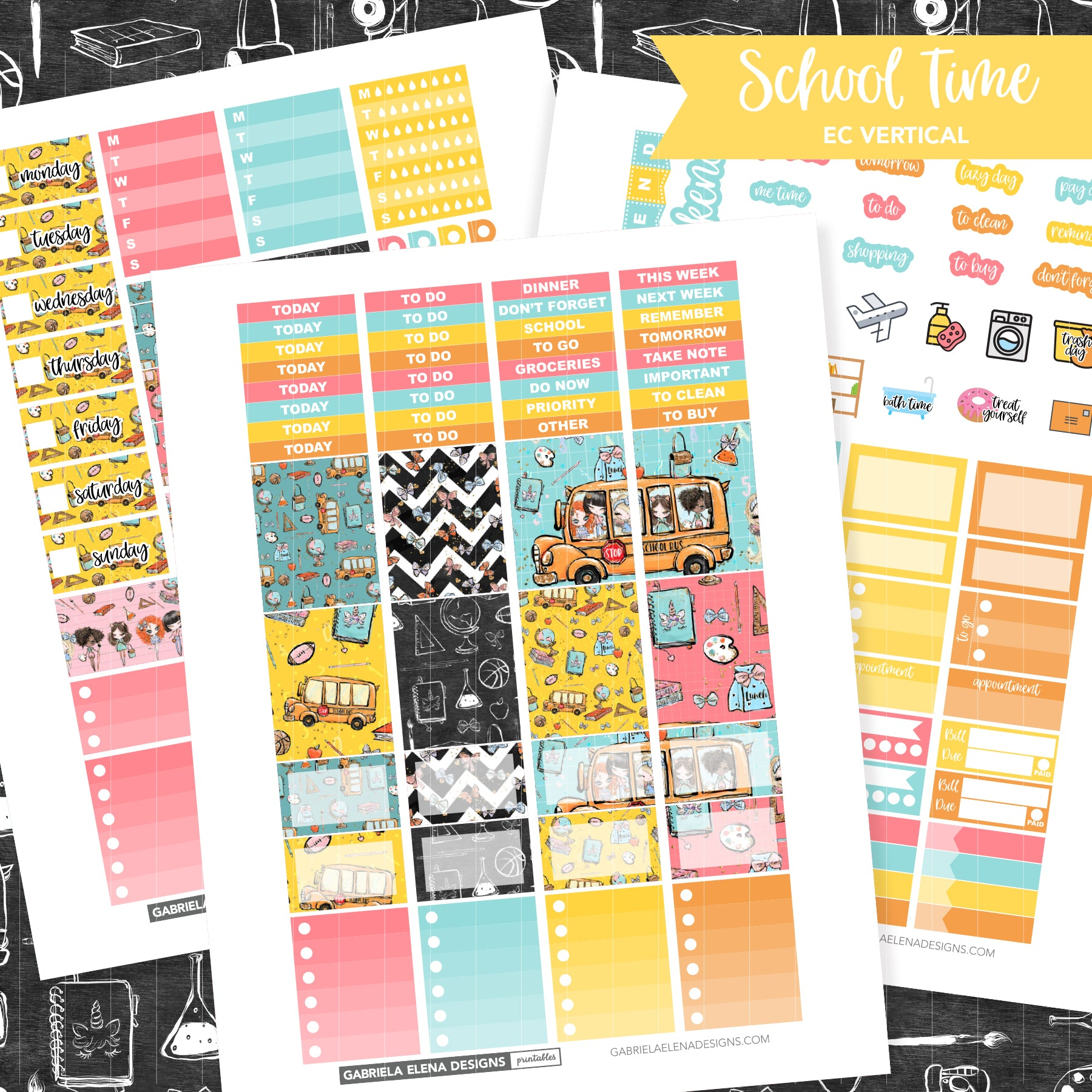 VERTICAL Printable / Instant Download / School Time