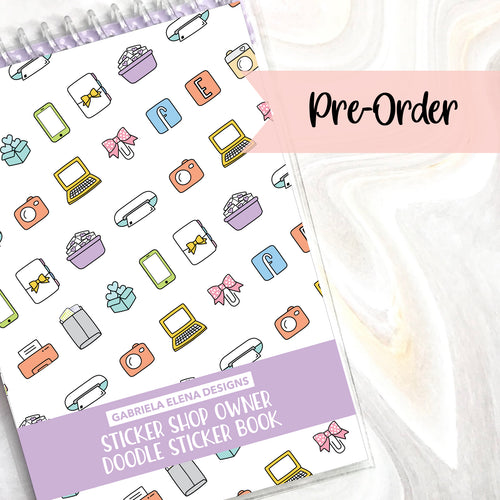 PRE-ORDER // Sticker Shop Owner // Doodle Sticker Book // 16 pages