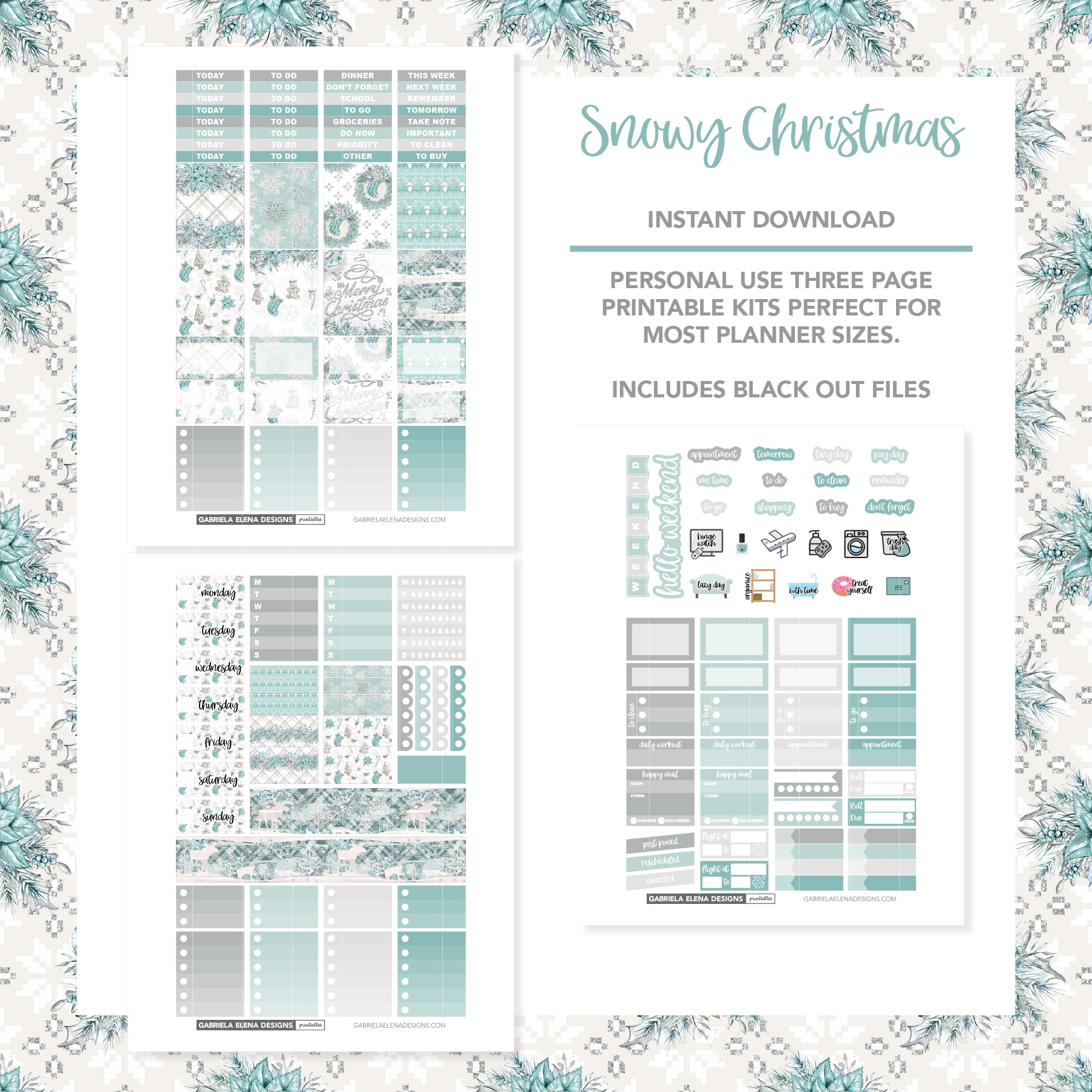 VERTICAL Printable / Instant Download / Snowy Christmas