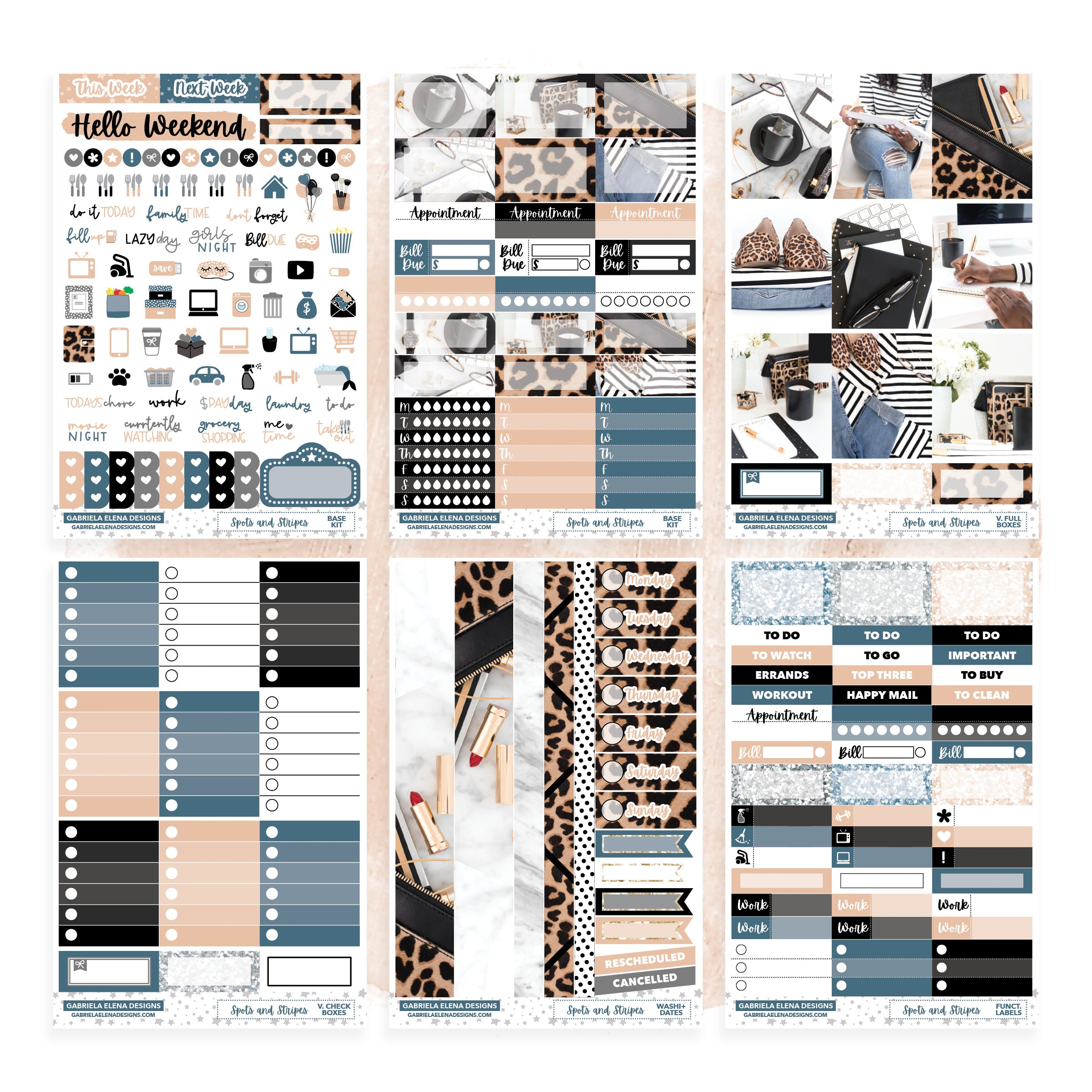 Spots and Stripes // Deluxe VERTICAL // Sticker Kit // Full Weekly Kit / FOIL