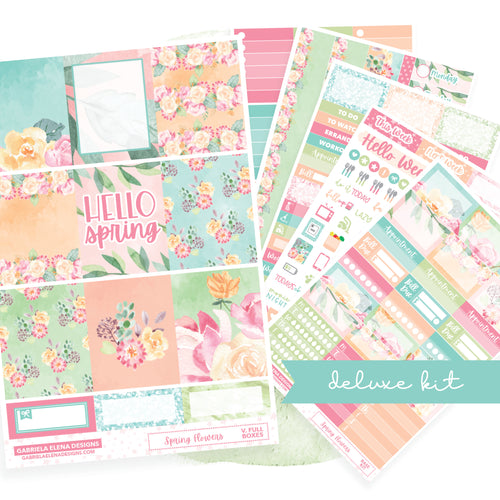 Spring Flowers // Deluxe EC VERTICAL // Sticker Kit // Full Weekly Kit
