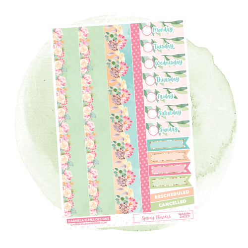 Spring Flowers // a la carte / Sticker Kit Add On / Washi and Date Covers
