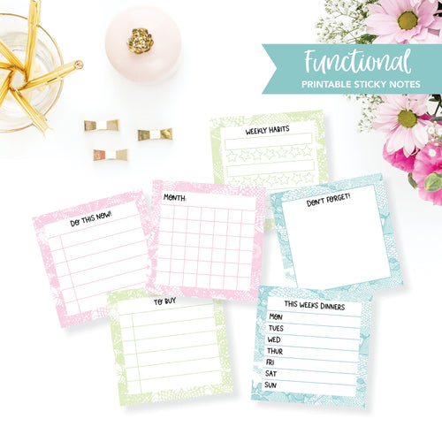 STICKY NOTES Printable / Instant Download / Functional Lace / Set of 3