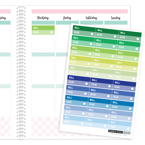 Bill Due // Functional Planner Stickers / 2 / Green - Blue