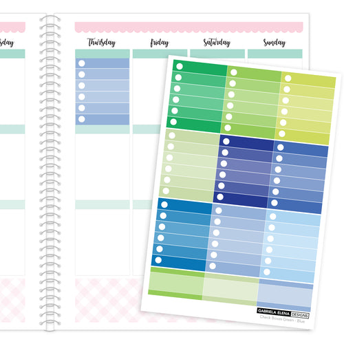 Check Boxes // Functional Planner Stickers / 2 / Green - Blue