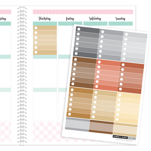 Check Boxes // Functional Planner Stickers / 4 / Neutrals