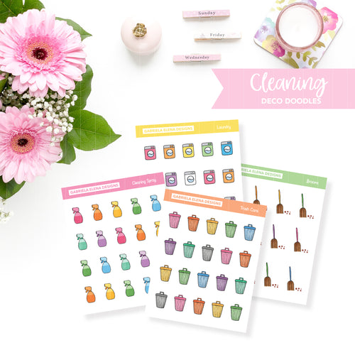Deco Doodles / Functional // Printable / Instant Download / Cleaning Icons