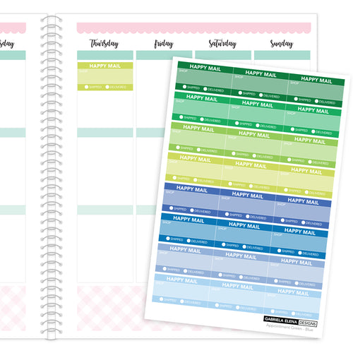 Happy Mail Trackers // Functional Planner Stickers / 2 / Green - Blue
