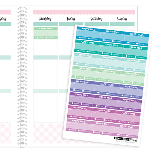 Happy Mail Trackers // Functional Planner Stickers / 3 / Aqua - Purple