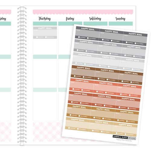 Happy Mail Trackers // Functional Planner Stickers / 4 / Neutrals