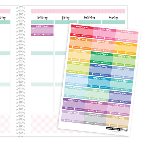 Happy Mail Tracker // Functional Planner Stickers / Rainbow / Multi-Color