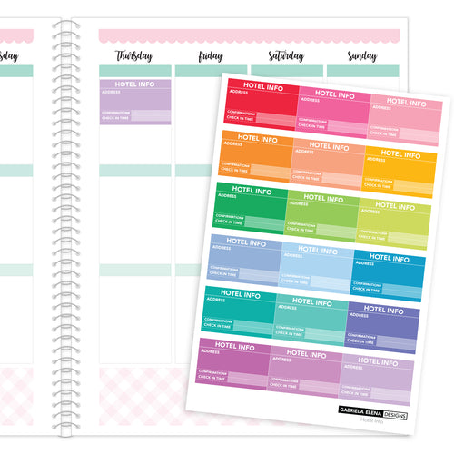 Hotel Info // Functional Planner Stickers / Rainbow / Multi-Color