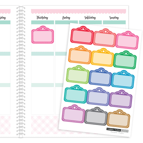 Marquees // Functional Planner Stickers / Rainbow / Multi-Color / Brights