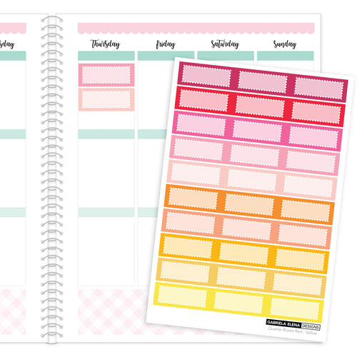 Quarter Boxes // Functional Planner Stickers / 1 / Red - Yellow