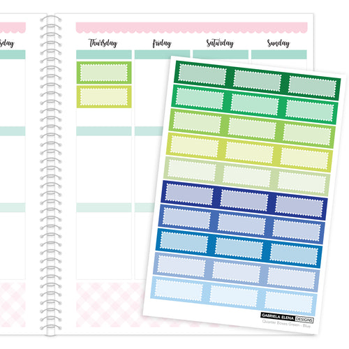 Quarter Boxes // Functional Planner Stickers / 2 / Green - Blue