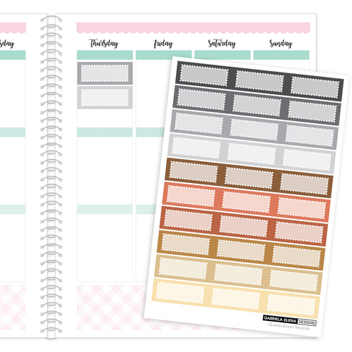 Quarter Boxes // Functional Planner Stickers / 4 / Neutrals
