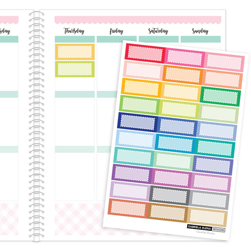 Quarter Boxes // Functional Planner Stickers / Rainbow / Multi-Color
