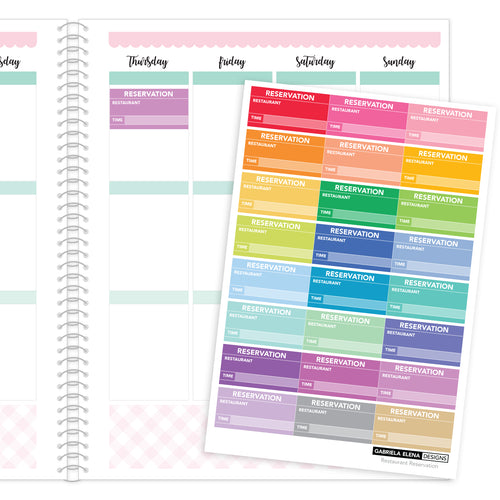 Restaurant Reservations // Functional Planner Stickers / Rainbow / Multi-Color