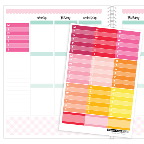 Weekly Sidebar // Functional Planner Stickers / 1 / Red - Yellow