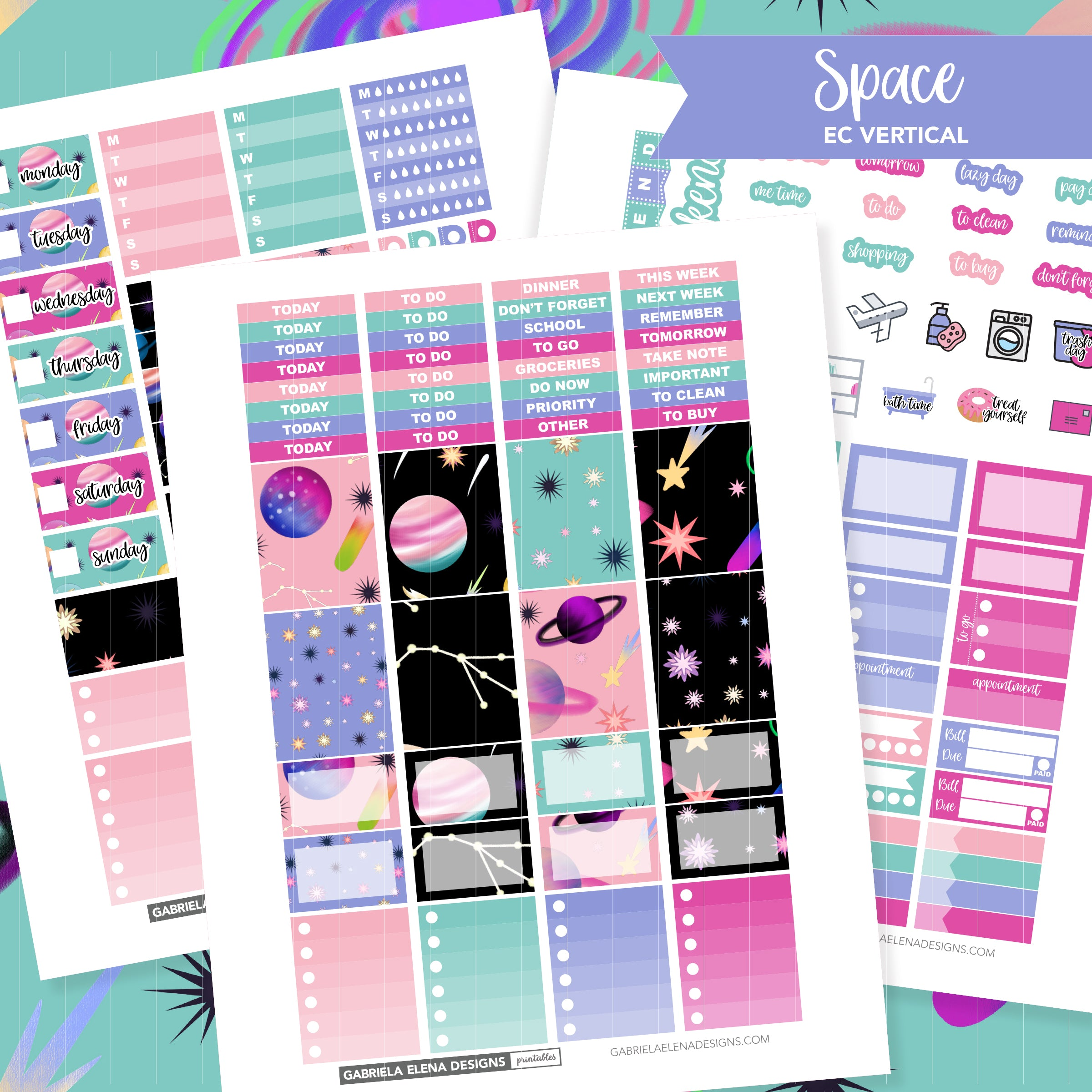 VERTICAL Printable / Instant Download / Space