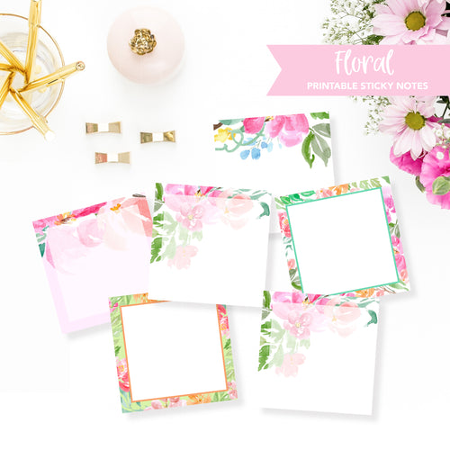 STICKY NOTES Printable / Instant Download / Floral