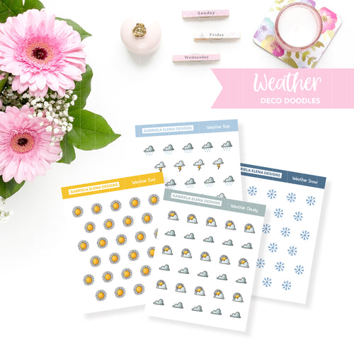 Deco Doodles / Functional // Printable / Instant Download / Weather Icons