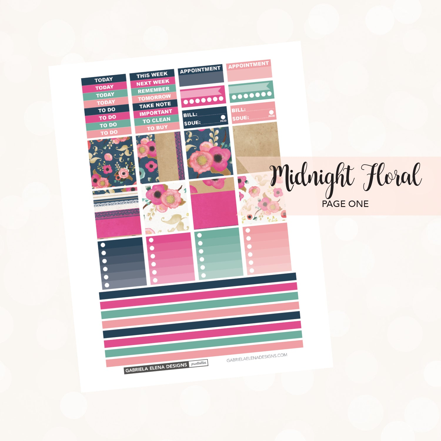 HORIZONTAL Printable / Instant Download / Midnight Floral