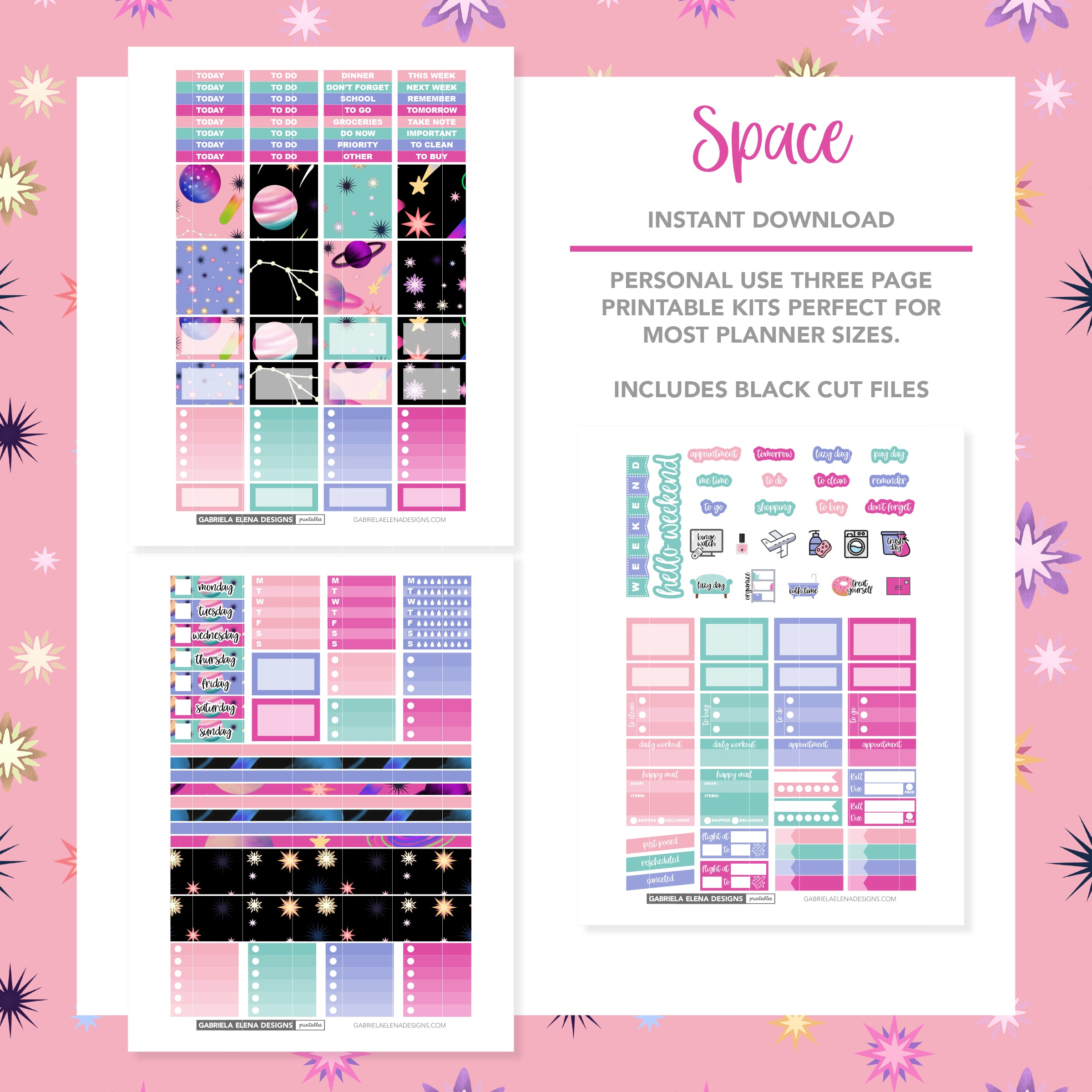 HORIZONTAL Printable / Instant Download / Space