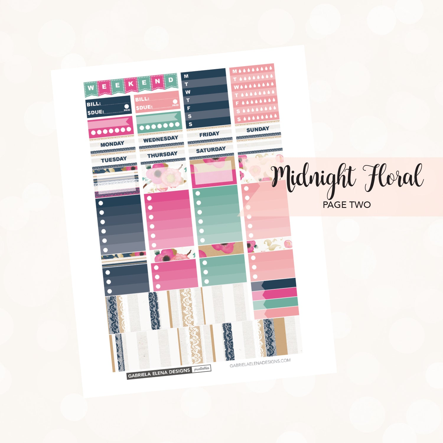 VERTICAL Printable / Instant Download / Midnight Floral