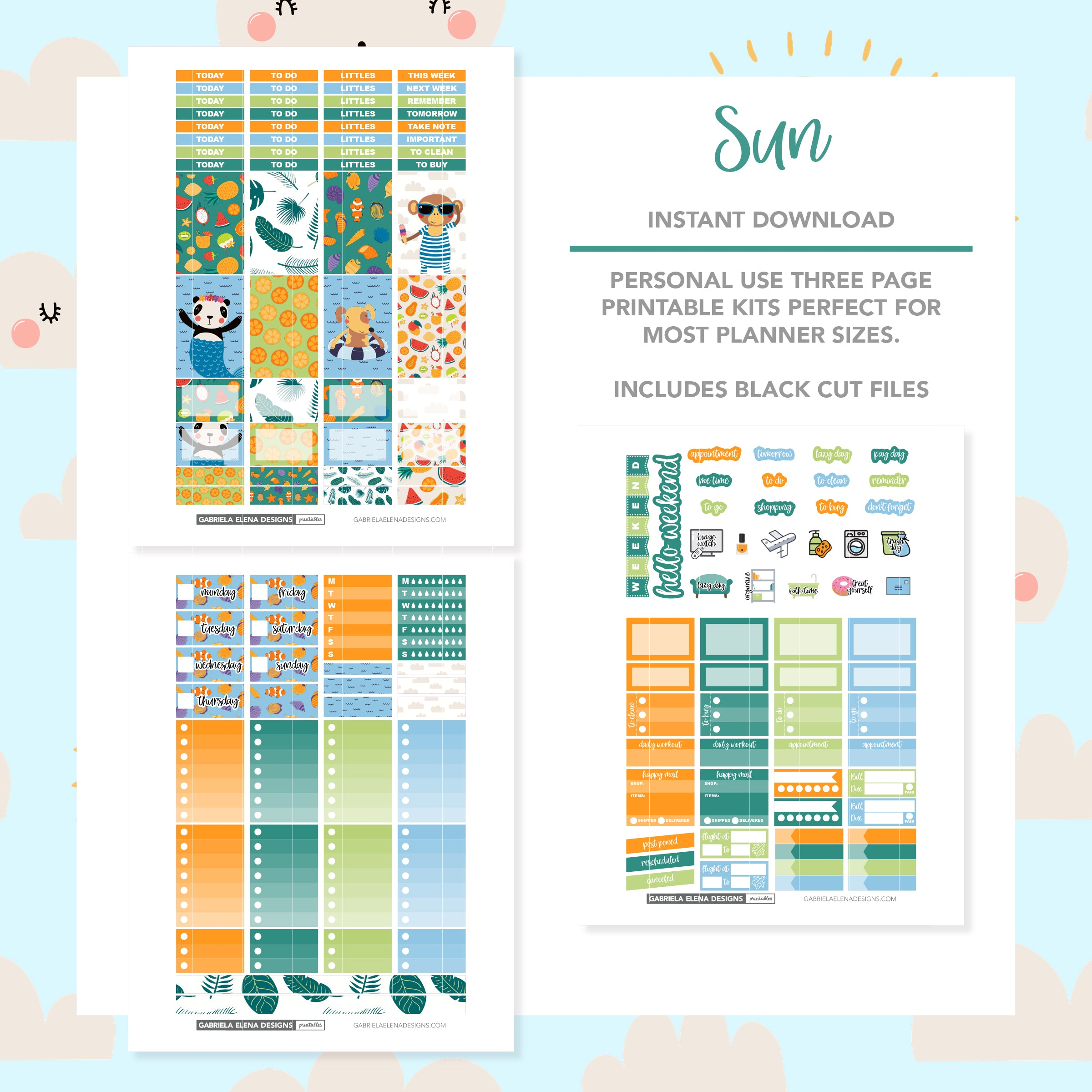CLASSIC HAPPY PLANNER Printable / Instant Download / Sun