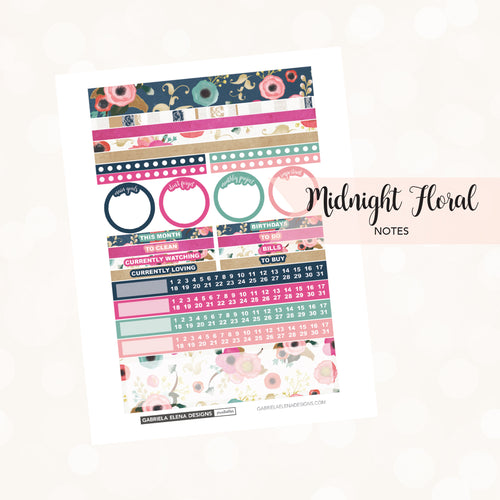 NOTES Printable / Instant Download / Midnight Floral