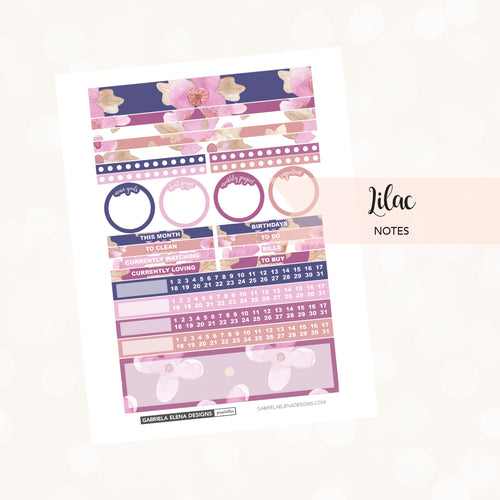 NOTES Printable / Instant Download / Lilac