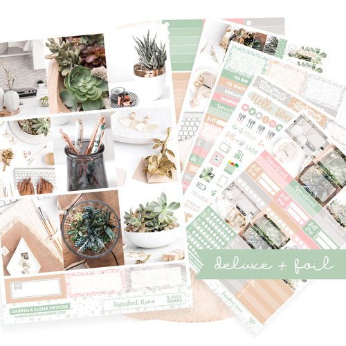 Succulent Home / Photo Series // Deluxe EC VERTICAL // Sticker Kit // Full Weekly Kit / FOIL