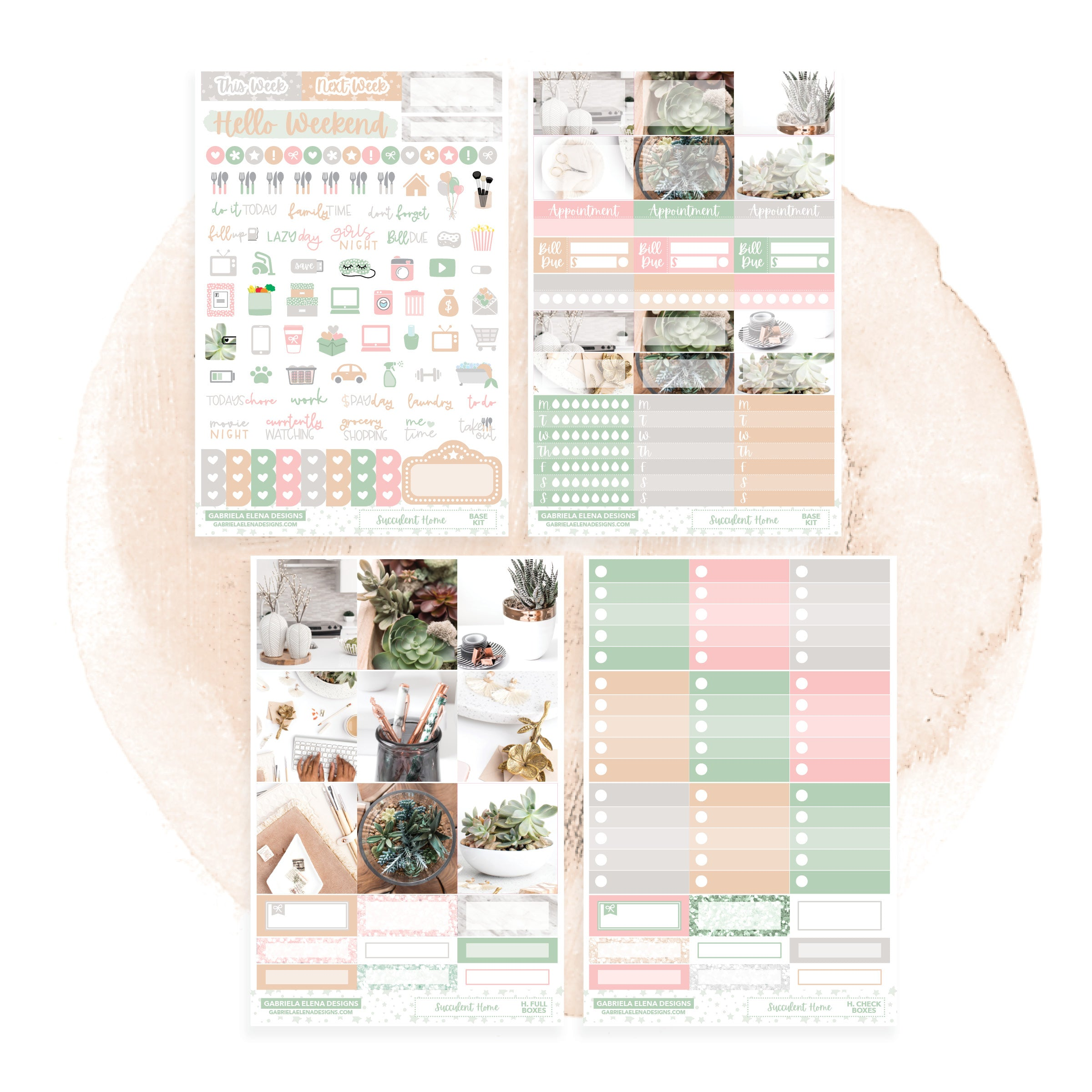 Succulent Home / Photo Series // HORIZONTAL / Sticker Kit / FOIL