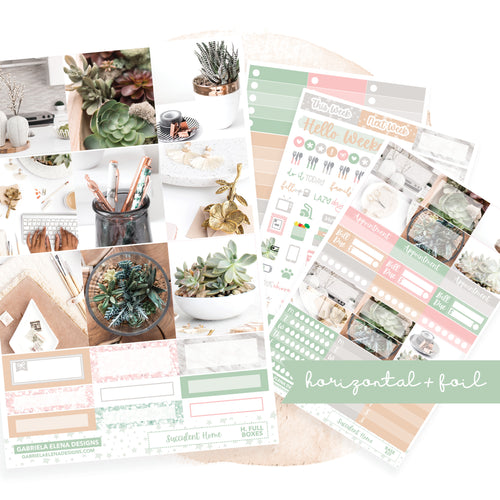 Succulent Home / Photo Series // EC HORIZONTAL / Sticker Kit / FOIL