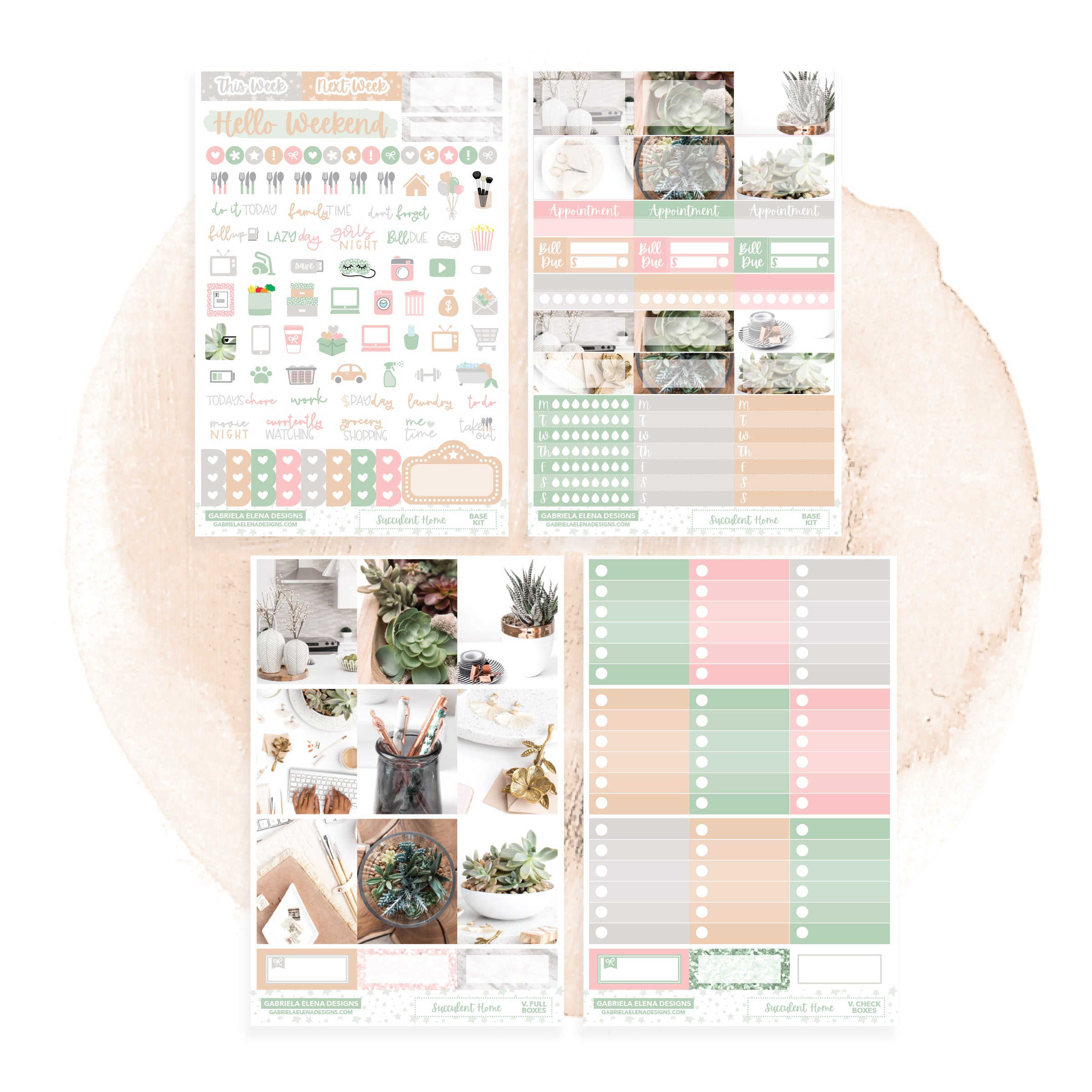 Succulent Home / Photo Series // EC VERTICAL / Sticker Kit / FOIL