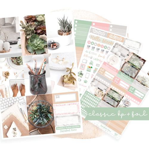Succulent Home / Photo Series // CLASSIC HAPPY PLANNER / Sticker Kit / FOIL