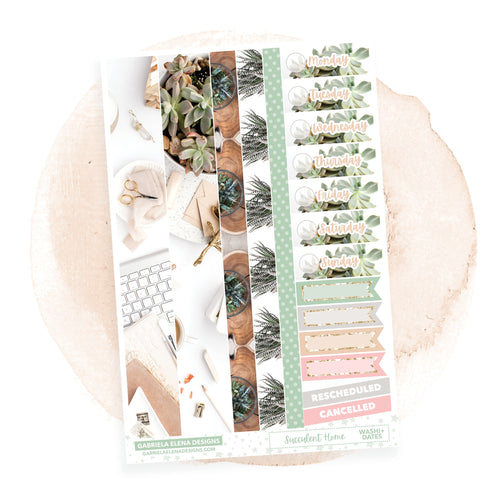 Succulent Home / Photo Series // a la carte / Sticker Kit Add On / Washi and Date Covers / FOIL