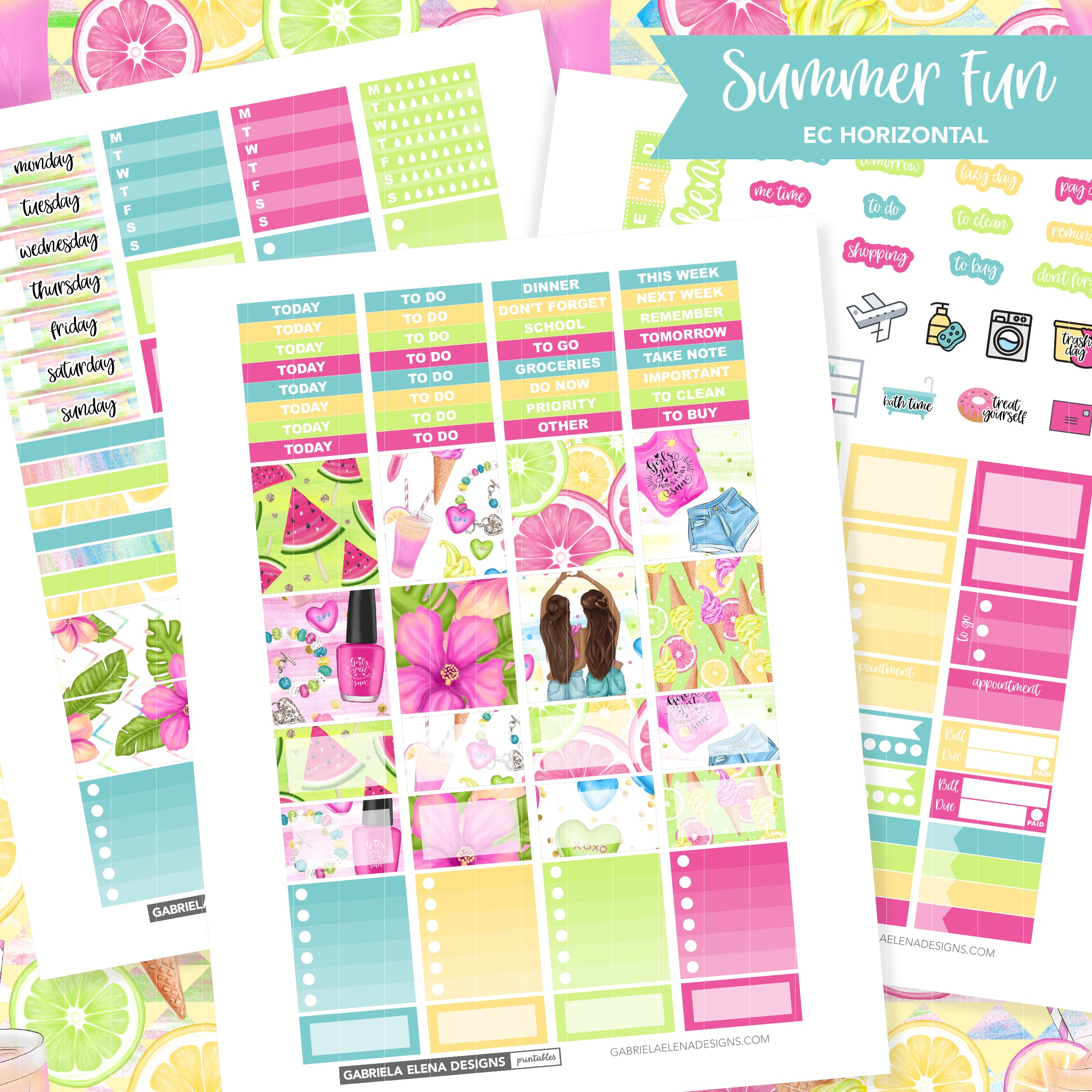 HORIZONTAL Printable / Instant Download / Summer Fun