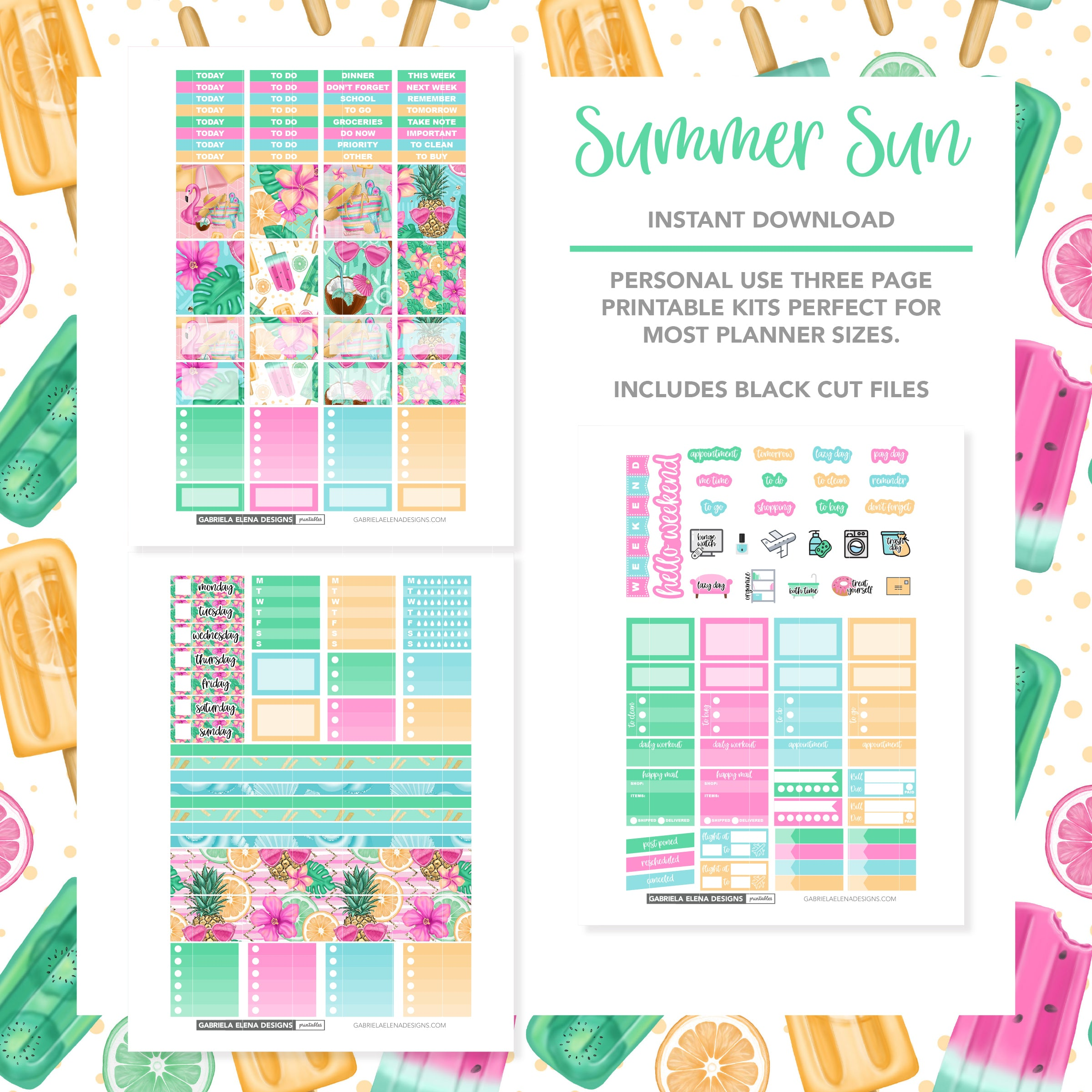 HORIZONTAL Printable / Instant Download / Summer Sun