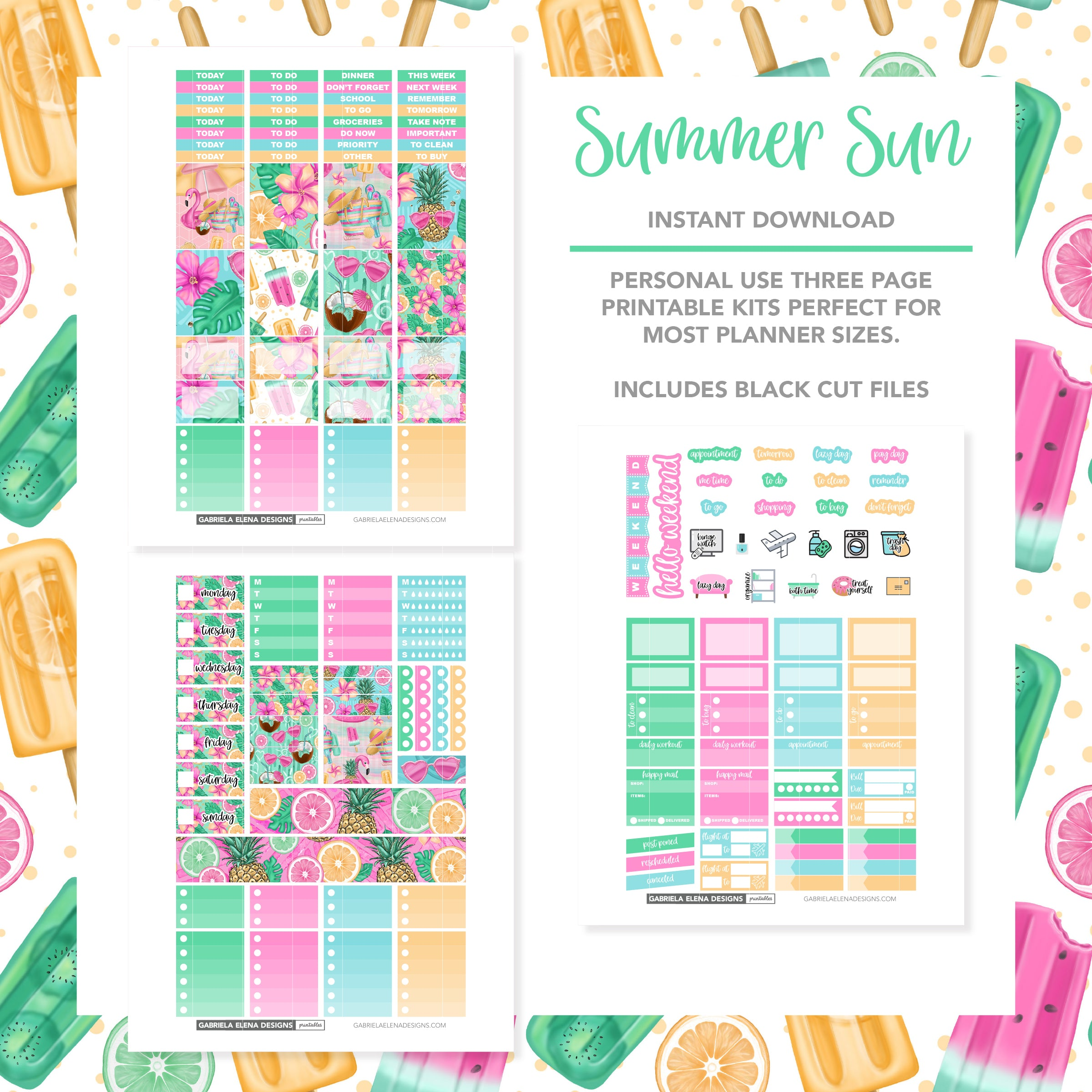 VERTICAL Printable / Instant Download / Summer Sun